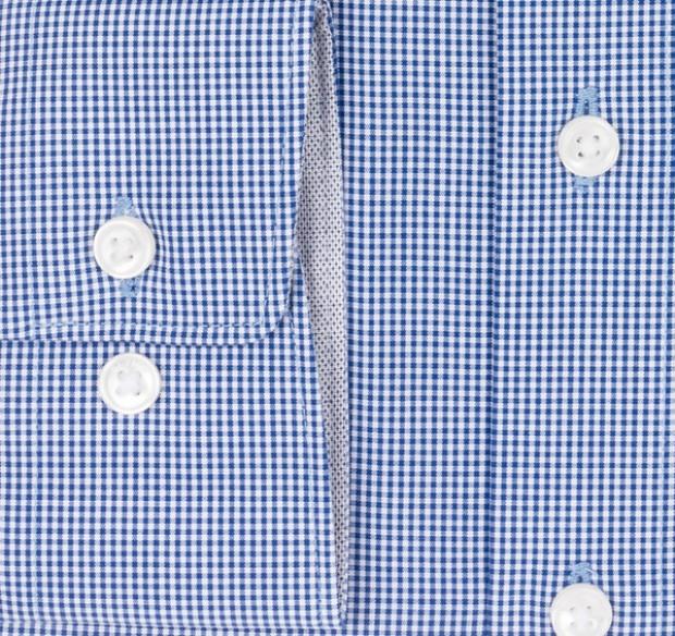 OLYMP vasalásmentes férfi ing karcsúsított sötétkék kockás - mandzsetta