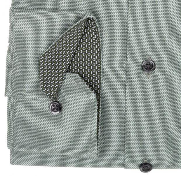 eterna vasalásmentes karcsúsított férfi ing zöld anyagában mintás - mandzsetta