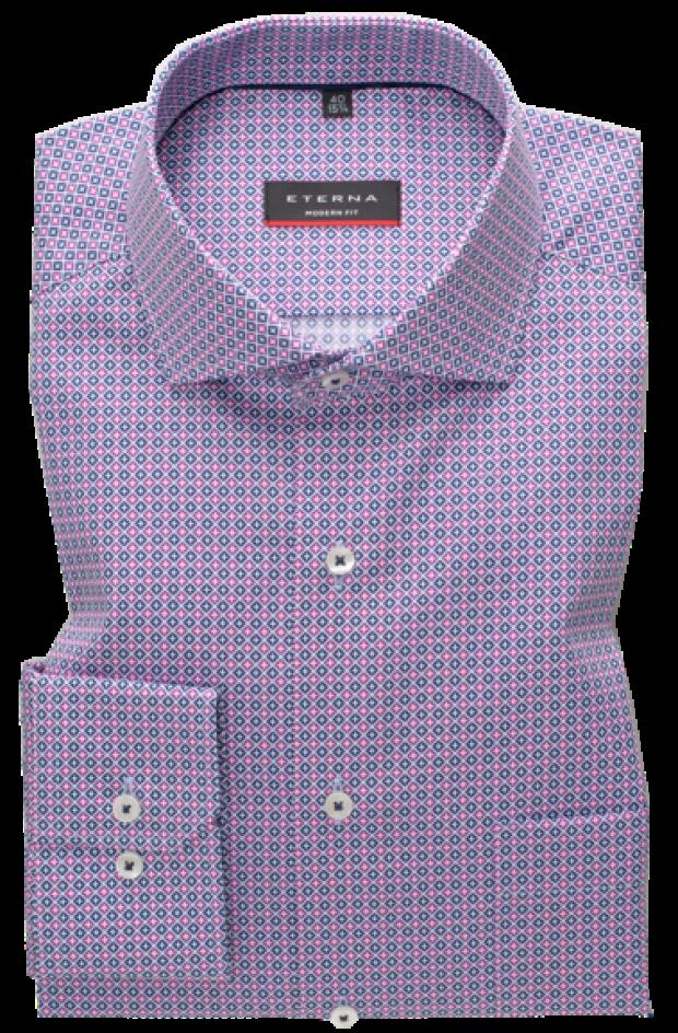 eterna vasalásmentes karcsúsított férfi ing rózsaszín-sötétkék mintás