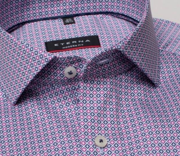 eterna vasalásmentes karcsúsított férfi ing rózsaszín-sötétkék mintás - gallér