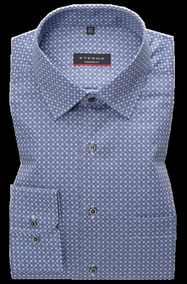 eterna vasalásmentes karcsúsított férfi ing kék-szürke mintás