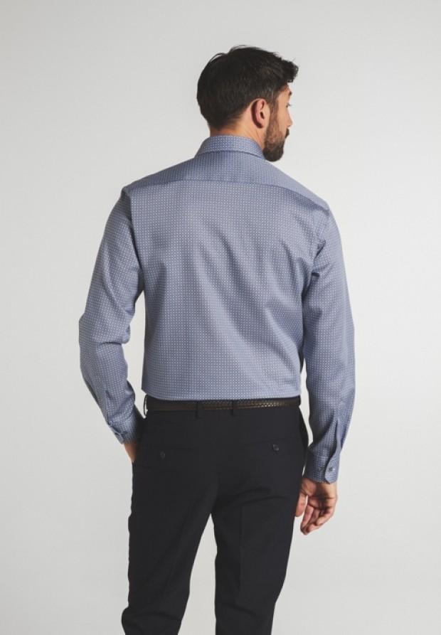 eterna vasalásmentes karcsúsított férfi ing kék-szürke mintás - hát