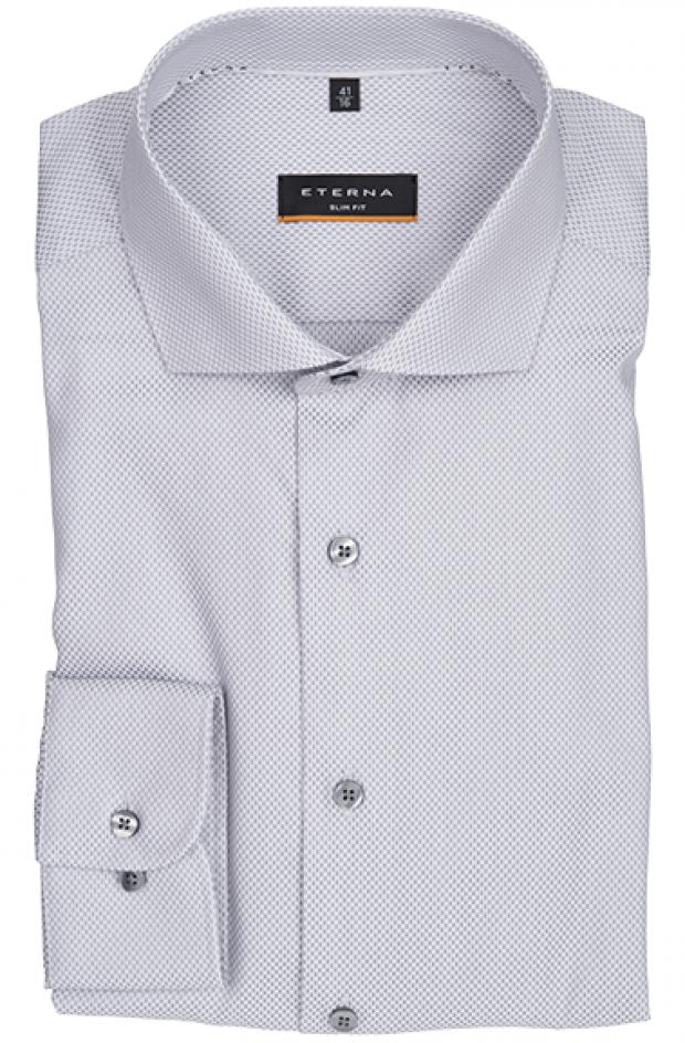 eterna vasalásmentes duplán karcsúsított férfi ing szürke-fehér mintás