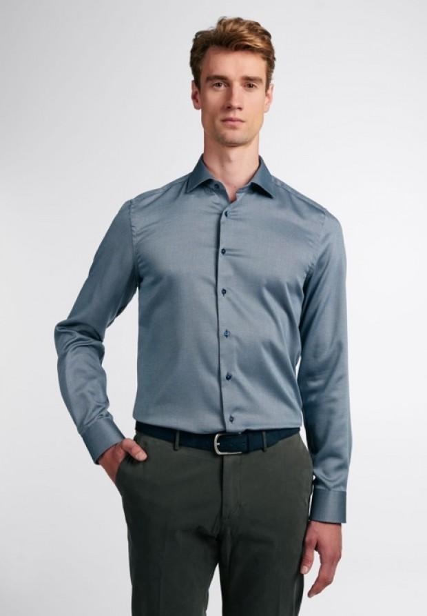 eterna vasalásmentes duplán karcsúsított férfi ing acélkék anyagában mintás - modell