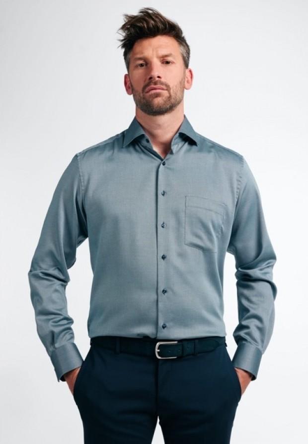 eterna vasalásmentes karcsúsított férfi ing acélkék anyagában mintás - modell