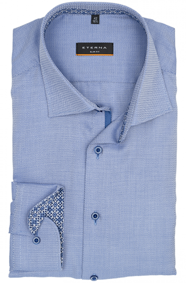 eterna vasalásmentes duplán karcsúsított férfi ing kék-fehér anyagában mintás