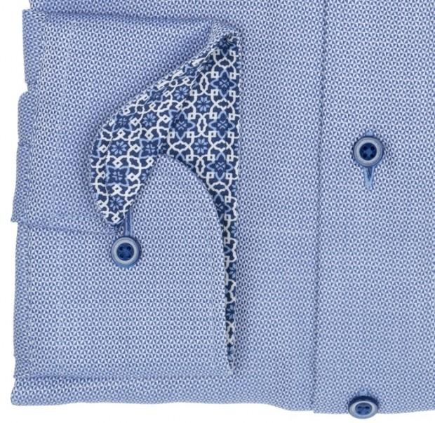 eterna vasalásmentes duplán karcsúsított férfi ing kék-fehér anyagában mintás - mandzsetta