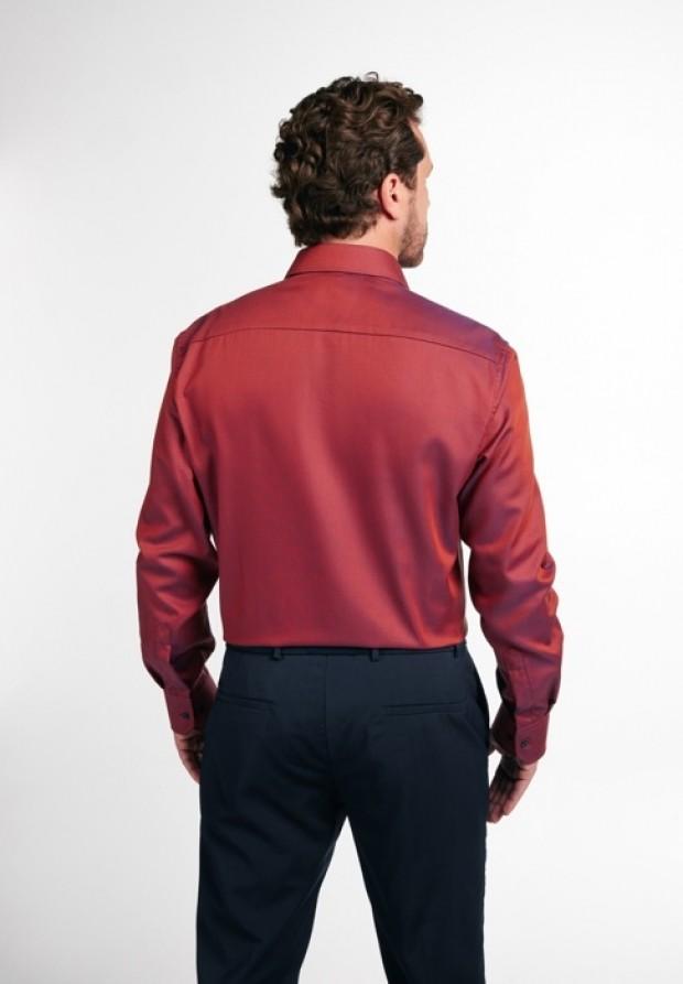 eterna vasalásmentes férfi ing rozsda-sötétkék anyagában mintás - hát