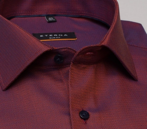 eterna vasalásmentes duplán karcsúsított férfi ing rozsda-sötétkék anyagában mintás - gallér