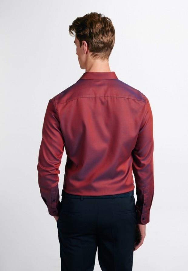 eterna vasalásmentes duplán karcsúsított férfi ing rozsda-sötétkék anyagában mintás - hát
