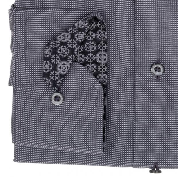 eterna vasalásmentes karcsúsított férfi ing sötétszürke anyagában mintás - mandzsetta