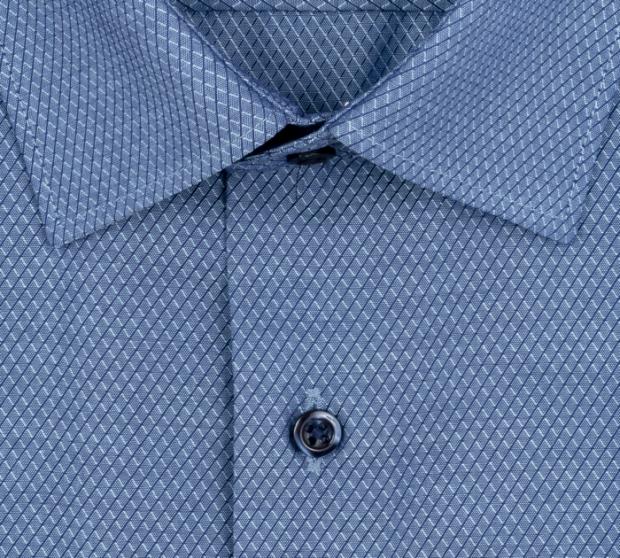 eterna vasalásmentes karcsúsított férfi ing kék mintás rövid ujjú - gallér