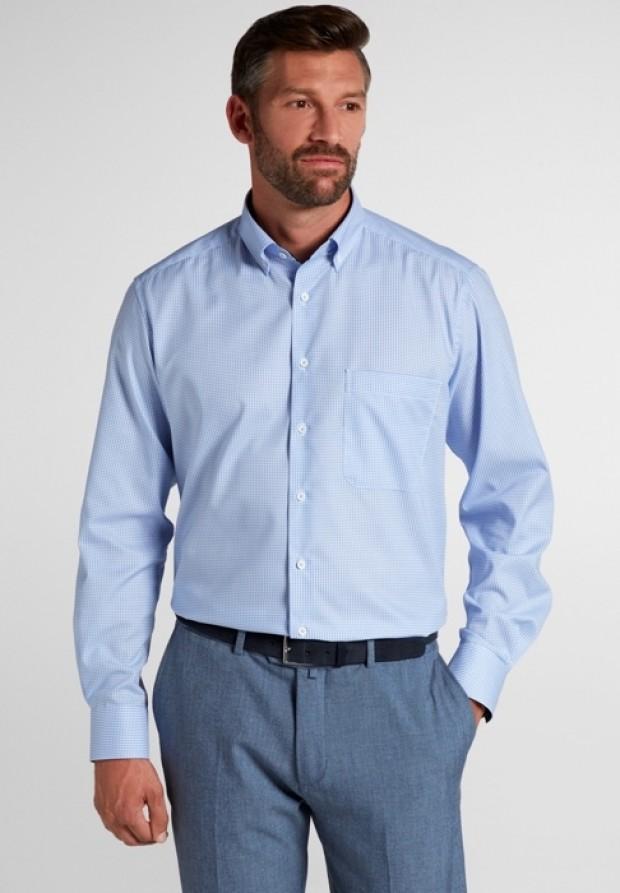 eterna vasalásmentes férfi ing világoskék kockás - modell