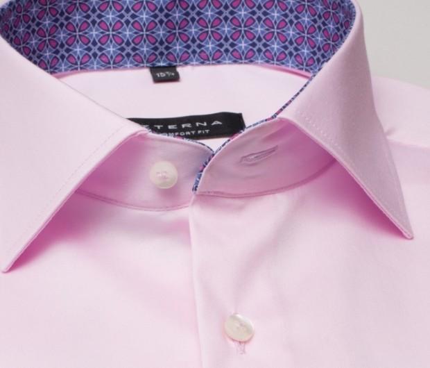 eterna vasalásmentes férfi ing rövid ujjú rózsaszín - gallér