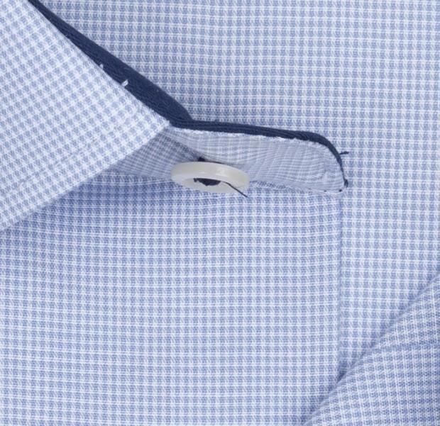 eterna vasalásmentes karcsúsított férfi ing világoskék apró mintás rövid ujjú - anyag