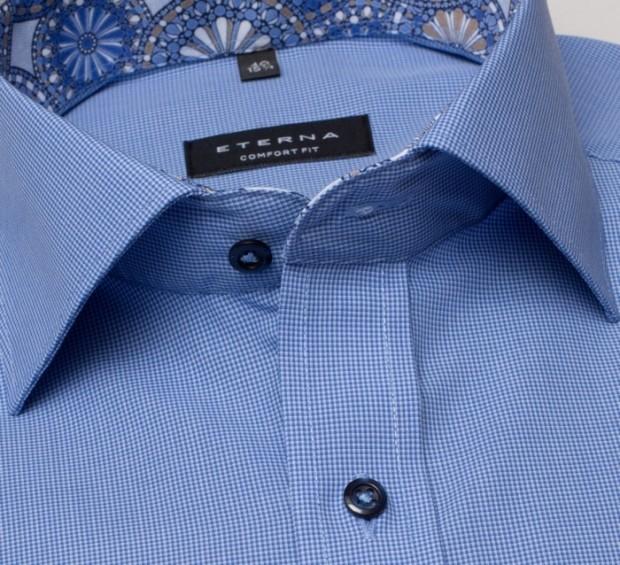 eterna vasalásmentes férfi ing kék apró mintás - gallér