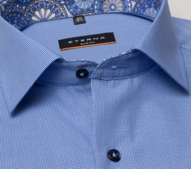 eterna vasalásmentes karcsúsított férfi ing kék apró mintás - gallér