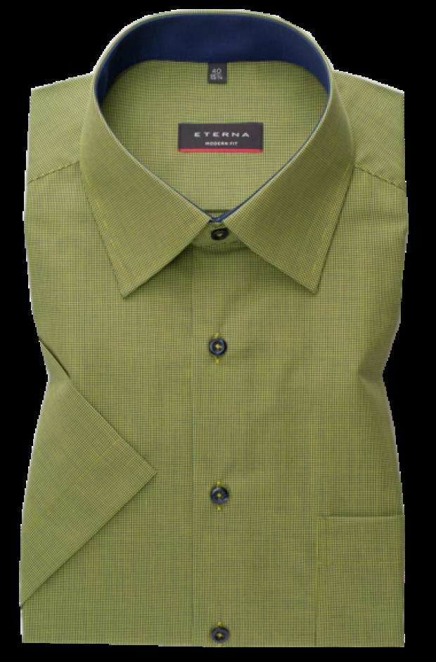 eterna vasalásmentes karcsúsított férfi ing zöld-sötétkék apró mintás rövid ujjú