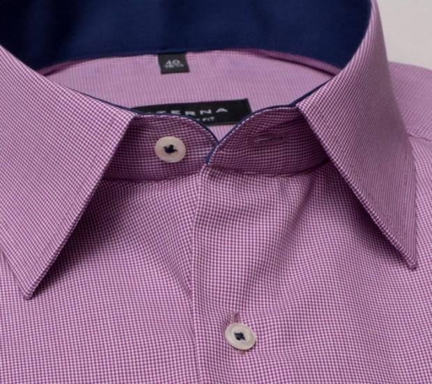 eterna vasalásmentes férfi ing rövid ujjú violalila-fehér apró mintás - gallér