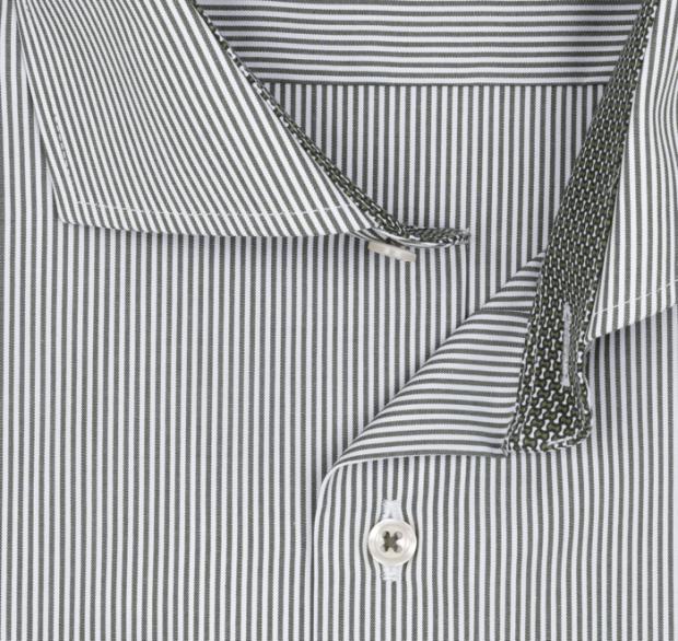 eterna vasalásmentes karcsúsított férfi ing khaki csíkos - gallér