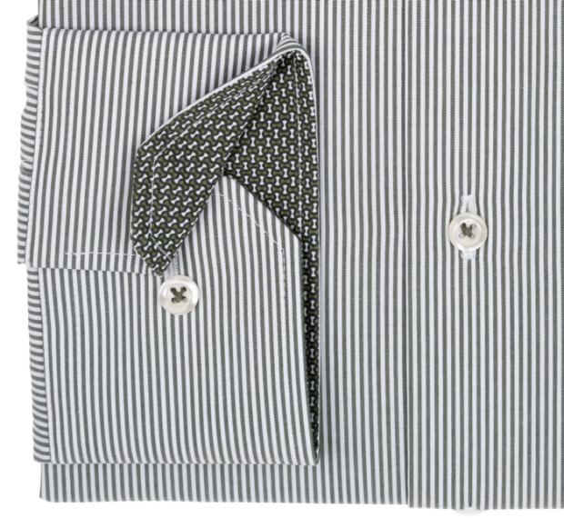 eterna vasalásmentes karcsúsított férfi ing khaki csíkos - mandzsetta