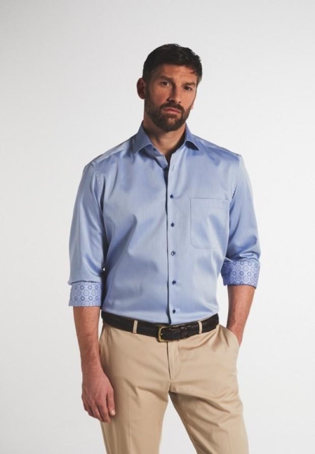 eterna vasalásmentes férfi ing acélkék - modell