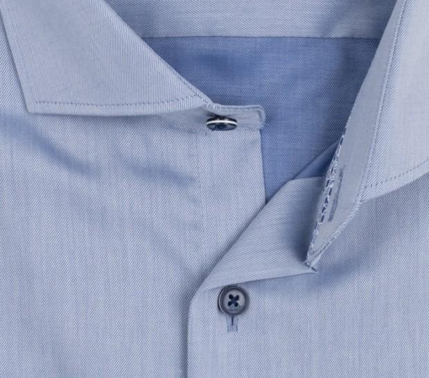 eterna vasalásmentes karcsúsított férfi ing acélkék (sötétkék gombok, lotus shirt) - gallér
