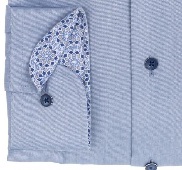 eterna vasalásmentes karcsúsított férfi ing acélkék (sötétkék gombok, lotus shirt) - mandzsetta
