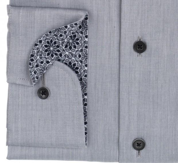 eterna vasalásmentes karcsúsított férfi ing világosszürke (fekete gombok, lotus shirt) - mandzsetta