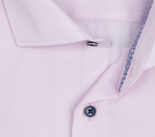 eterna vasalásmentes karcsúsított férfi ing rózsaszín (sötétkék gombok, lotus shirt) - gallér