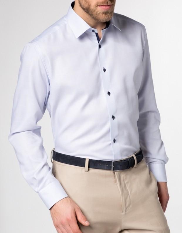 eterna vasalásmentes karcsúsított férfi ing kék anyagában mintás - modell