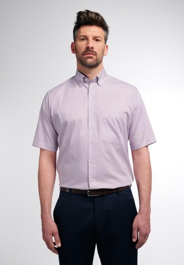 eterna vasalásmentes férfi ing rövid ujjú piros-sötétkék kockás - modell