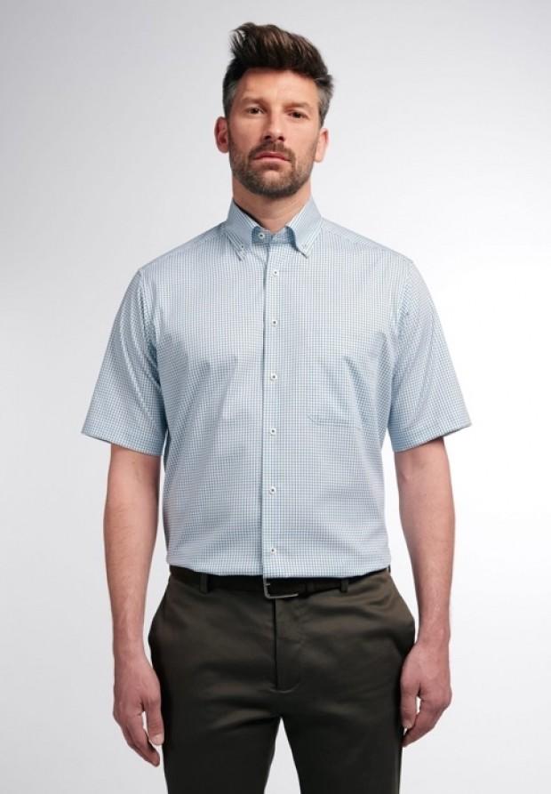 eterna vasalásmentes férfi ing rövid ujjú zöld-sötétkék kockás - modell