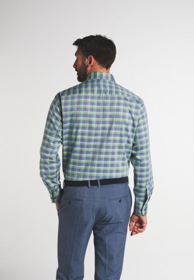eterna vasalásmentes férfi ing zöld-kék kockás - modell hát