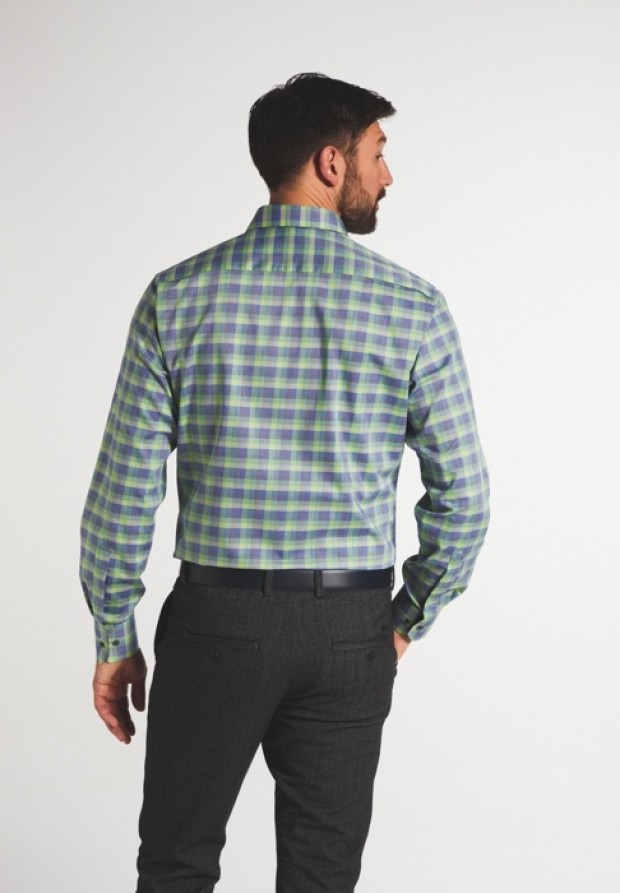 eterna vasalásmentes karcsúsított férfi ing zöld-kék kockás - modell hát