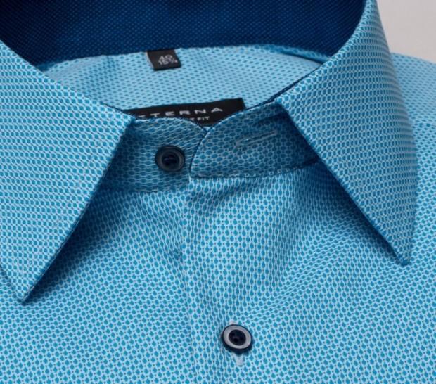 eterna vasalásmentes férfi ing rövid ujjú türkizkék anyagában mintás - gallér