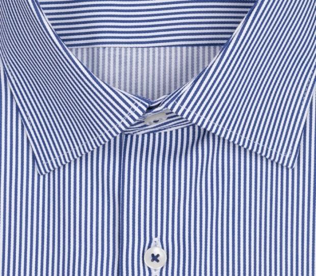 eterna vasalásmentes karcsúsított férfi ing kék-fehér csíkos rövid ujjú - gallér