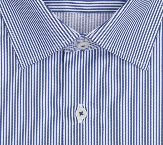 eterna vasalásmentes karcsúsított férfi ing kék-fehér - gallér