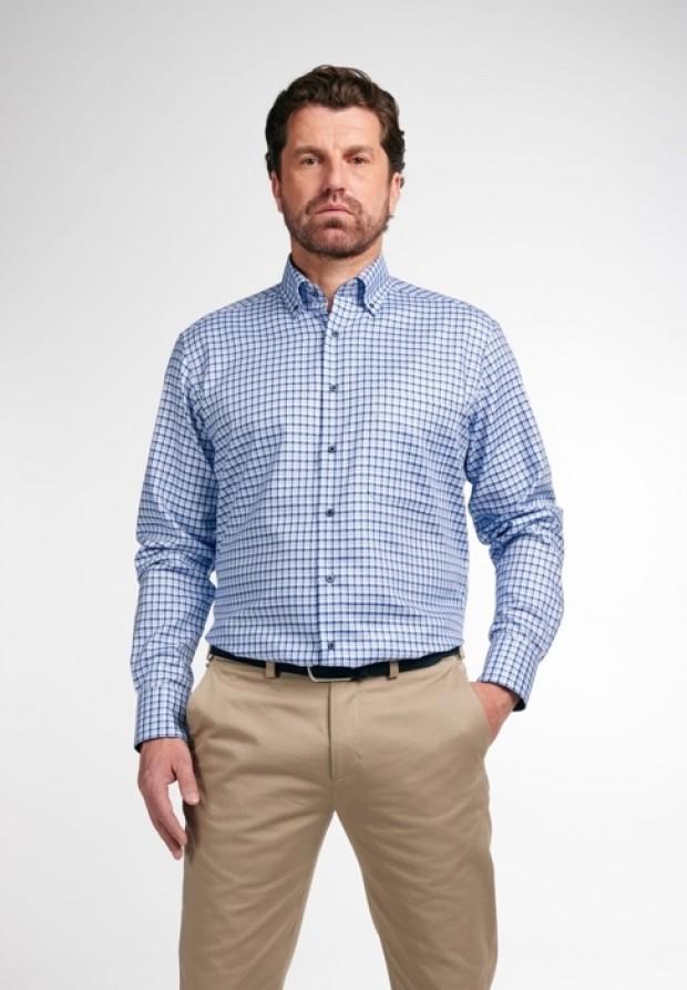 eterna vasalásmentes férfi ing kék kockás - modell