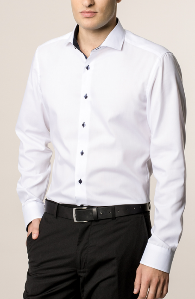eterna vasalásmentes duplán karcsúsított férfi ing fehér - modell
