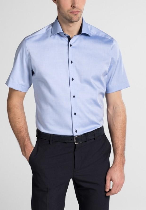 eterna vasalásmentes karcsúsított férfi ing kék rövid ujjú - modell