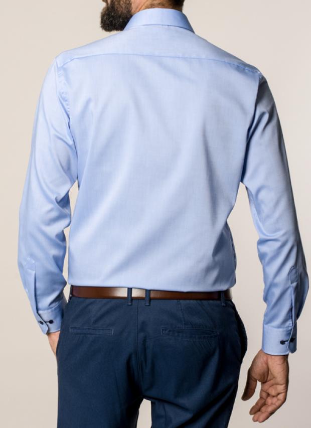 eterna vasalásmentes karcsúsított férfi ing kék hosszított ujjú - hát