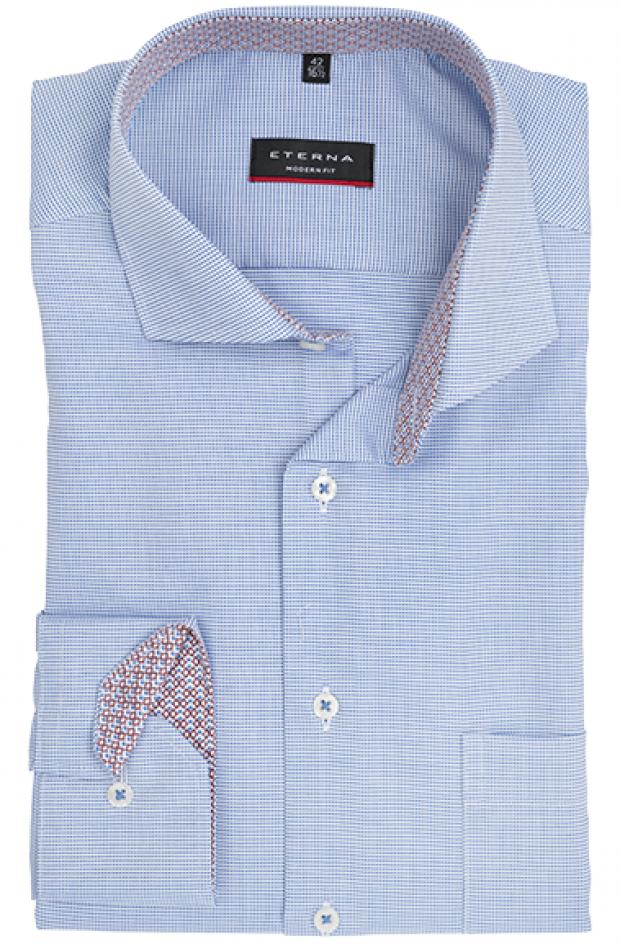 eterna vasalásmentes karcsúsított férfi ing kék-fehér anyagában mintás