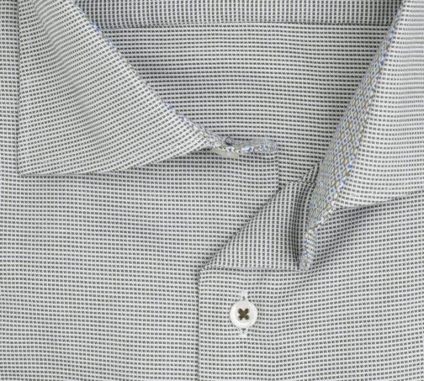 eterna vasalásmentes férfi ing khaki-fehér anyagában mintás- gallér