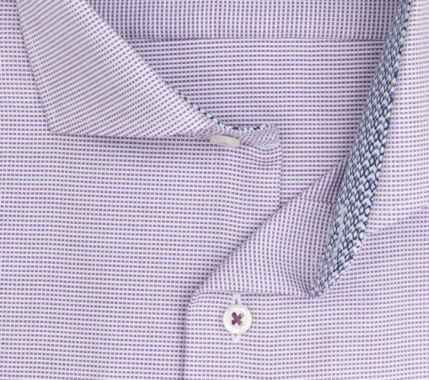 eterna vasalásmentes karcsúsított férfi ing lila-fehér anyagában mintás - gallér