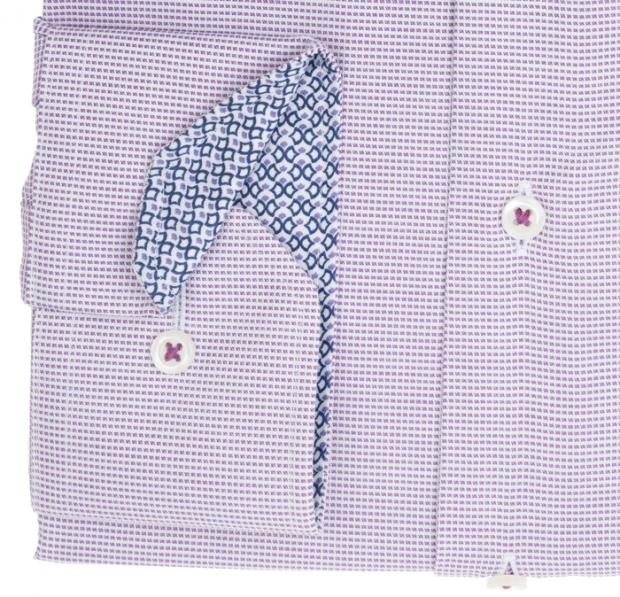 eterna vasalásmentes karcsúsított férfi ing lila-fehér anyagában mintás - mandzsetta