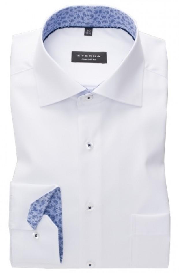 eterna vasalásmentes férfi ing fehér (kék mintás gallér belső)