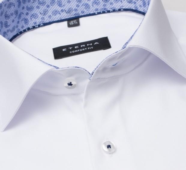 eterna vasalásmentes férfi ing fehér (kék mintás gallér belső) - gallér