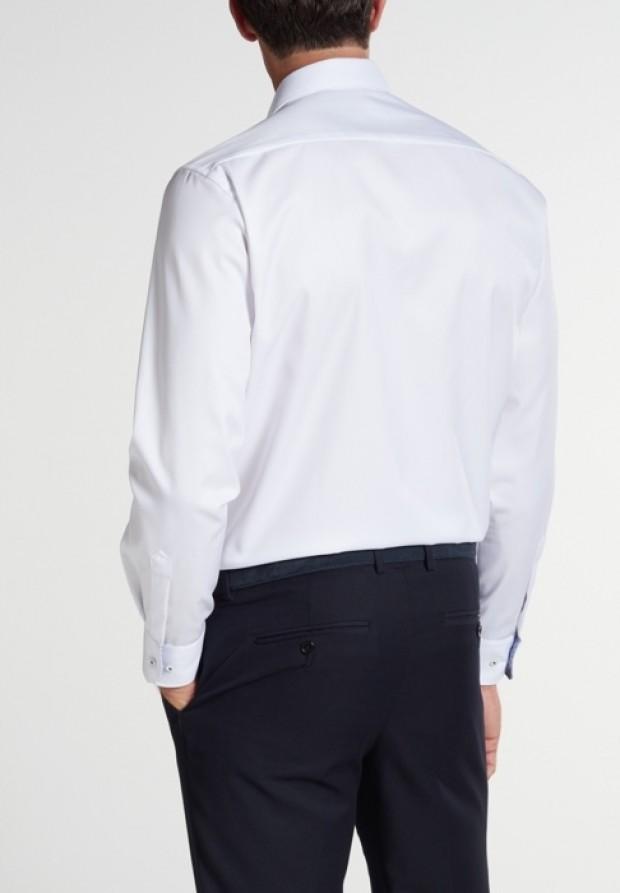eterna vasalásmentes férfi ing fehér (kék mintás gallér belső) - modell hát
