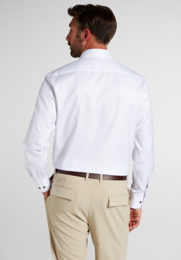 eterna vasalásmentes karcsúsított férfi ing fehér (cover shirt) - hát